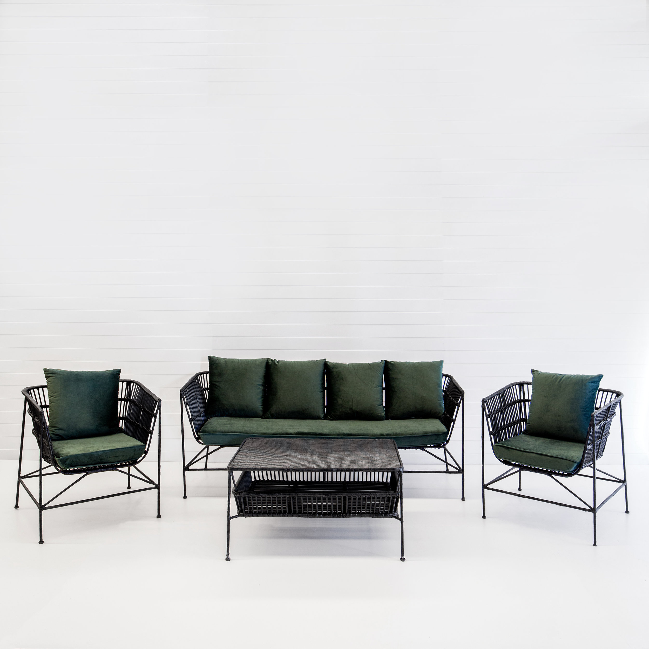 INDIE BLACK SOFA PACKAGE WITH EMERALD VELVET CUSHIONS