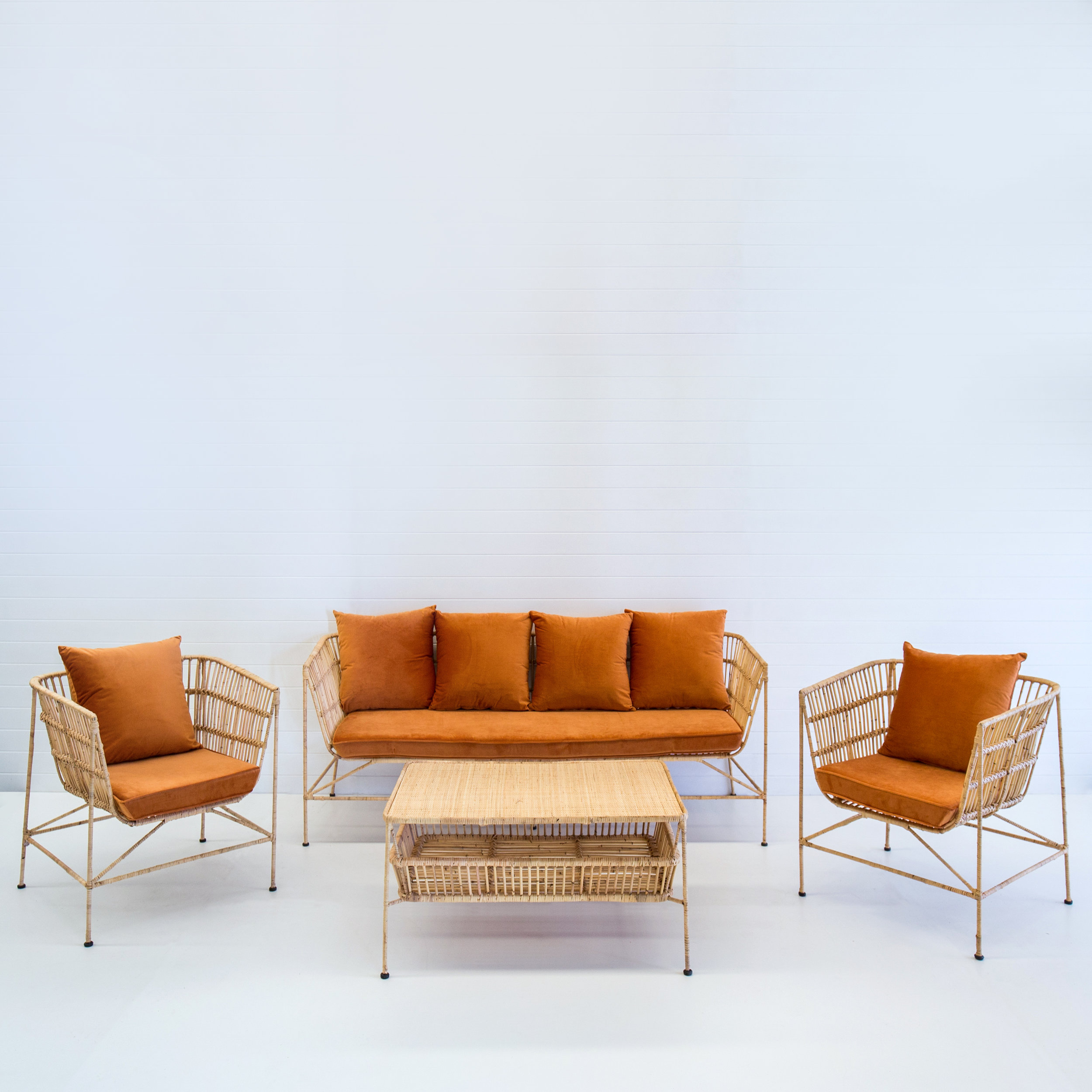 Indie natural sofa package with rust velvet cushions