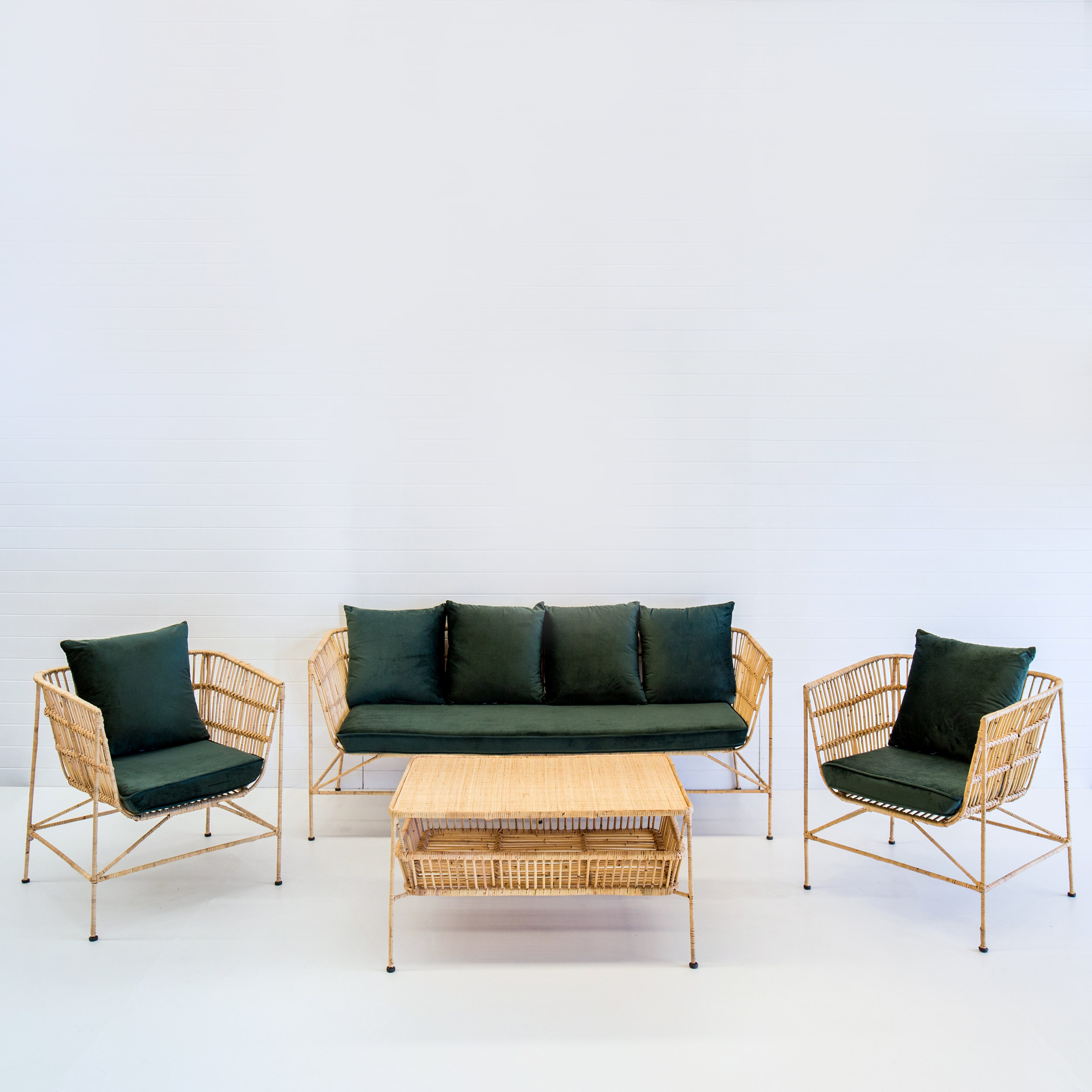 Indie natural sofa package with emerald green cushions