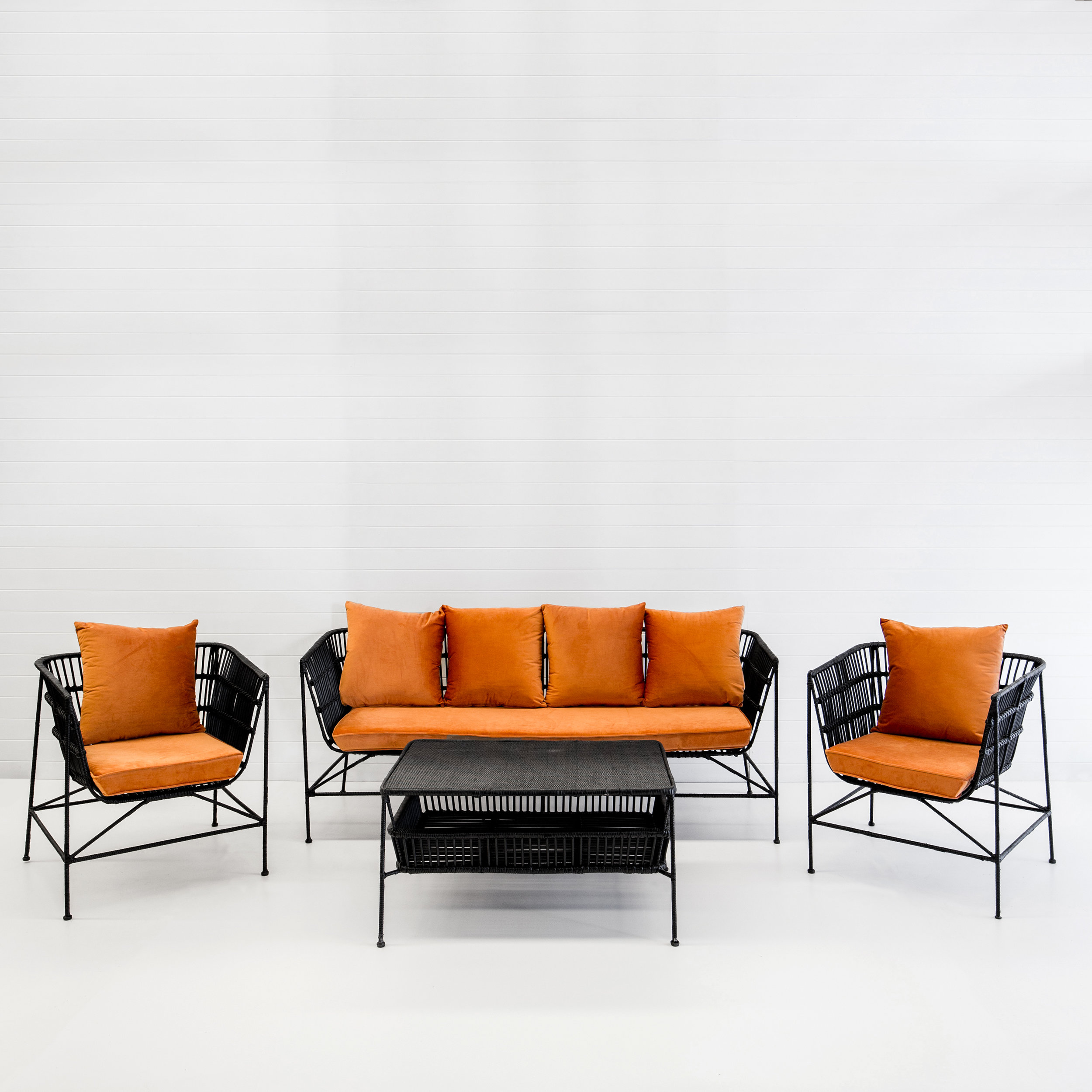 Indie black sofa package with rust velvet cushions