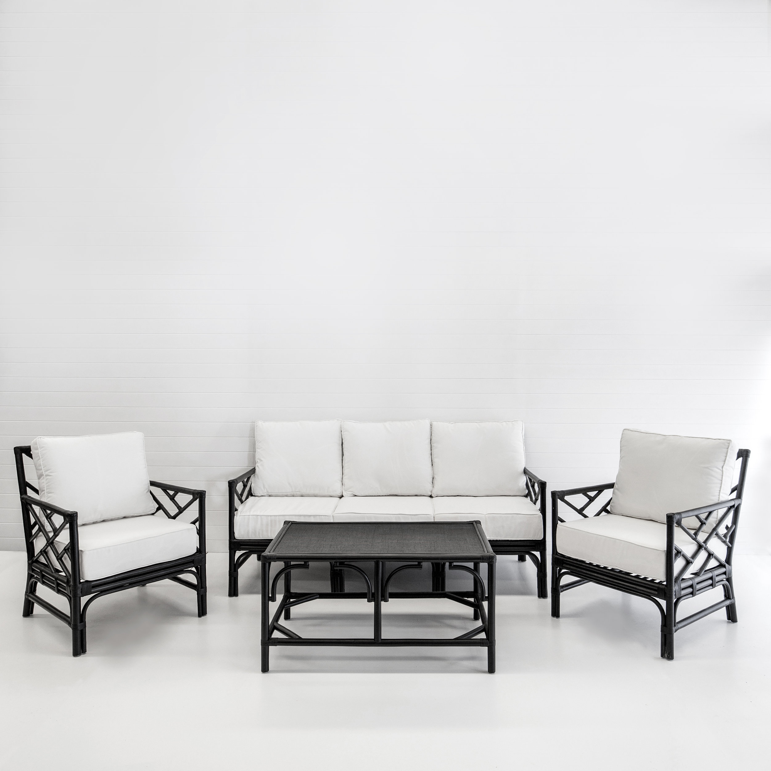 Hamptons black sofa package with white cushions