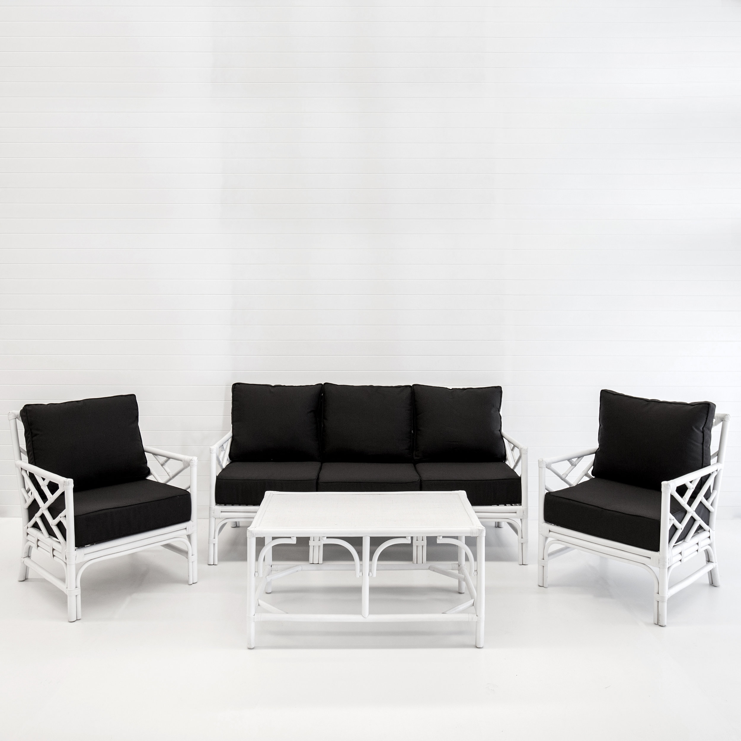 Hamptons white sofa package with black cushions