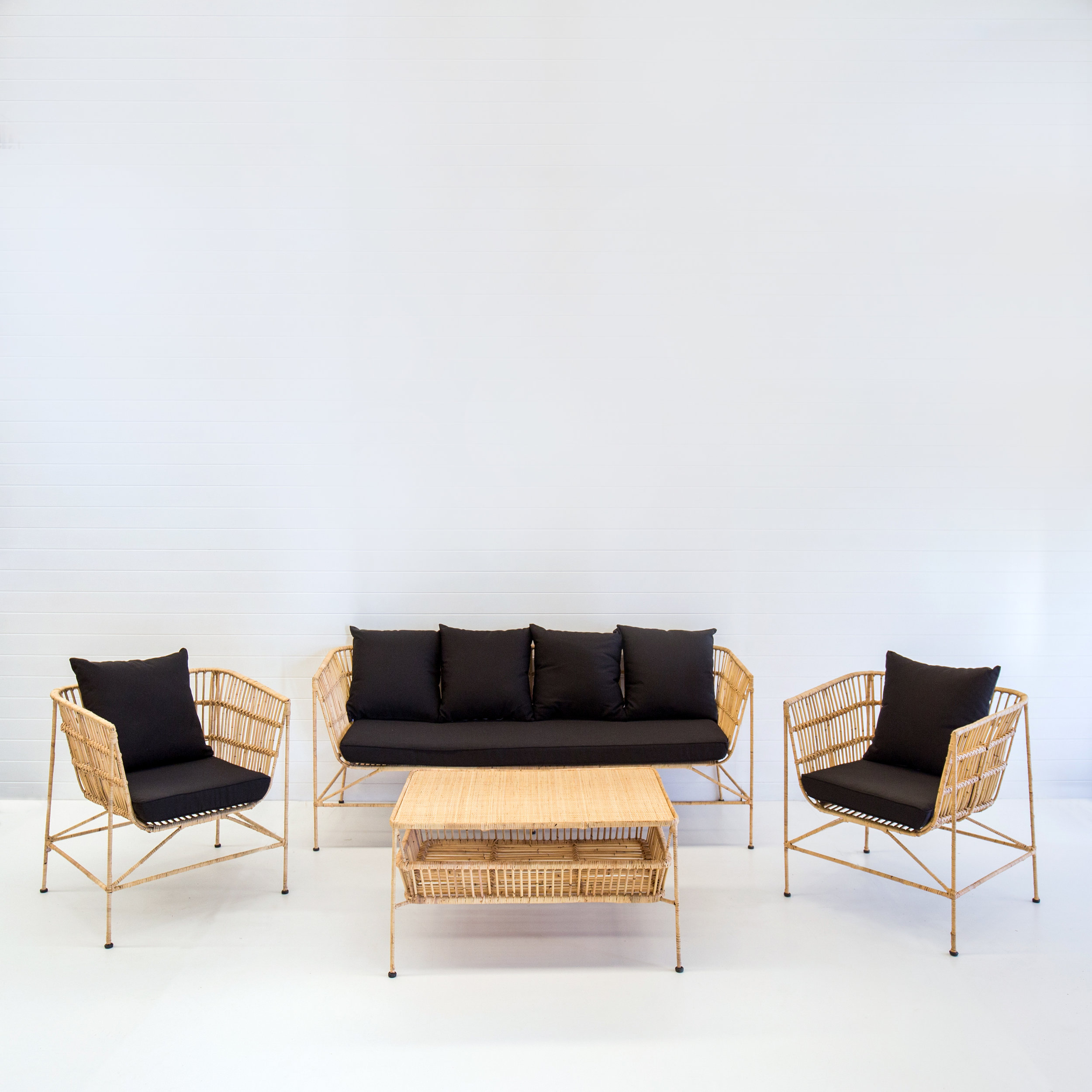 Indie natural sofa package with black cushions
