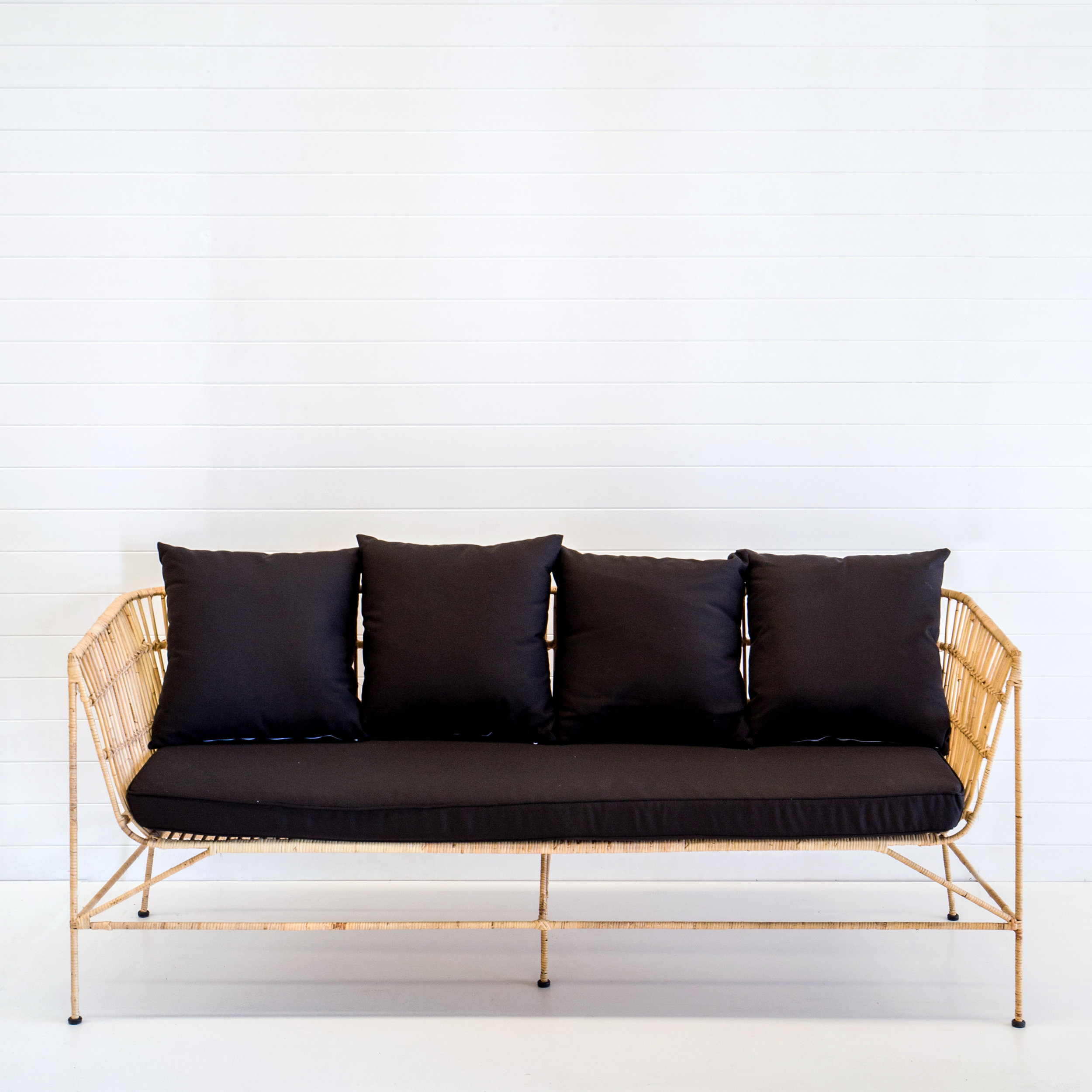 INDIE NATURAL 3-SEATER SOFA WITH BLACK CUSHIONS