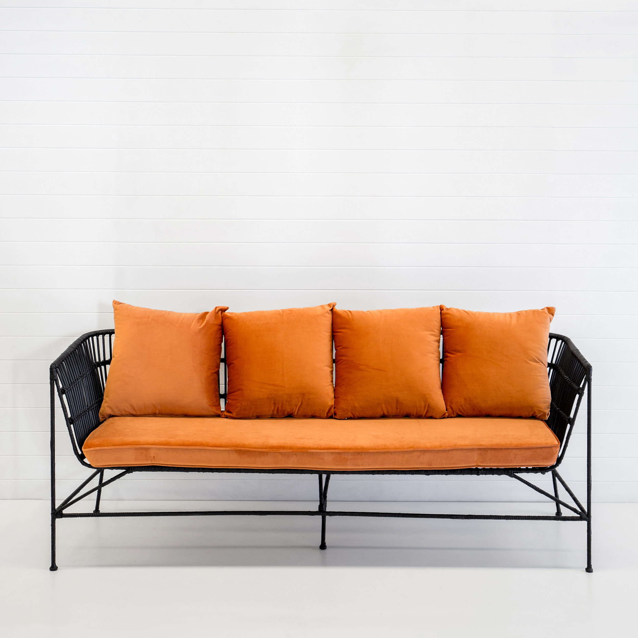 INDIE BLACK 3-SEATER SOFA WITH RUST VELVET CUSHIONS