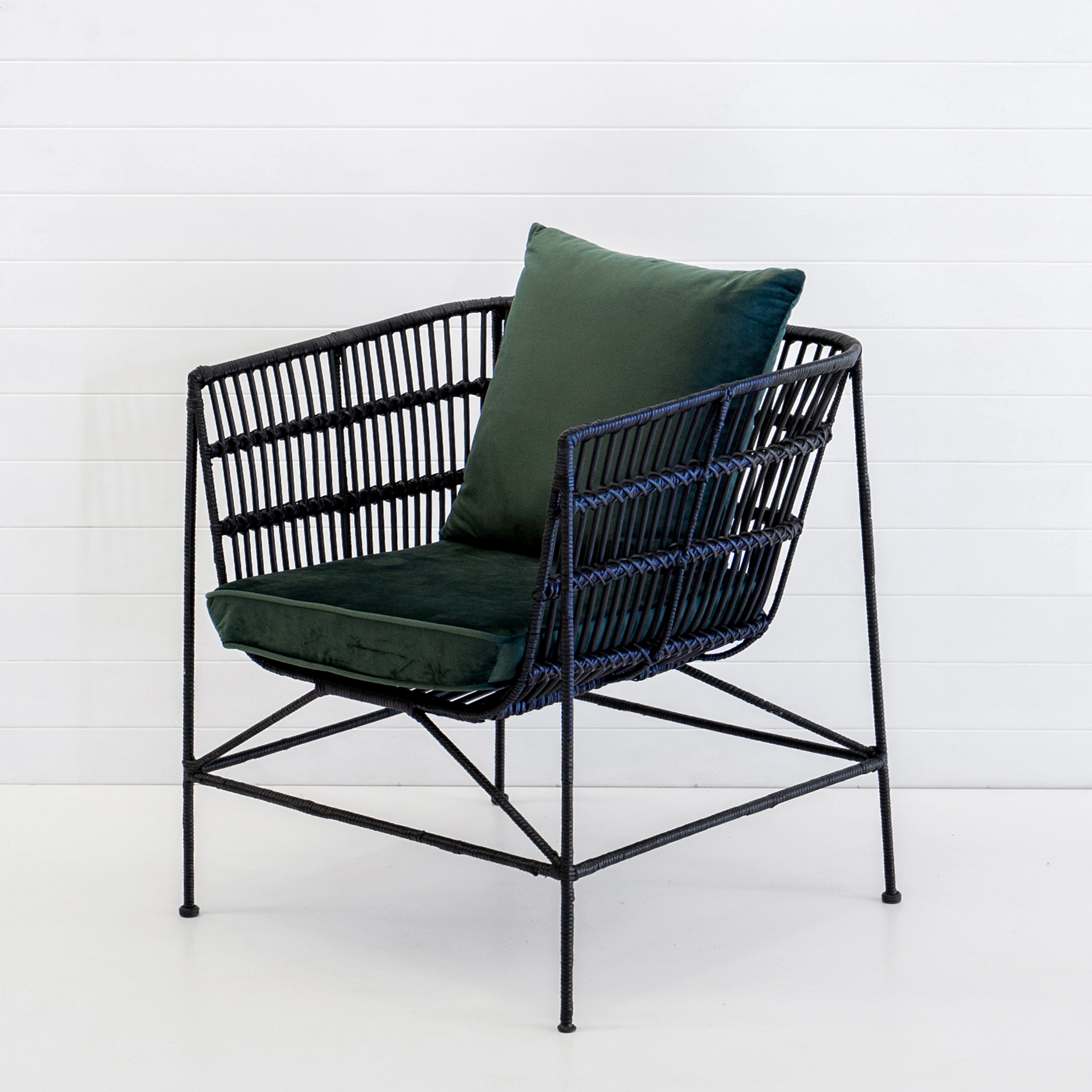 INDIE BLACK ARMCHAIR WITH EMERALD VELVET CUSHIONS
