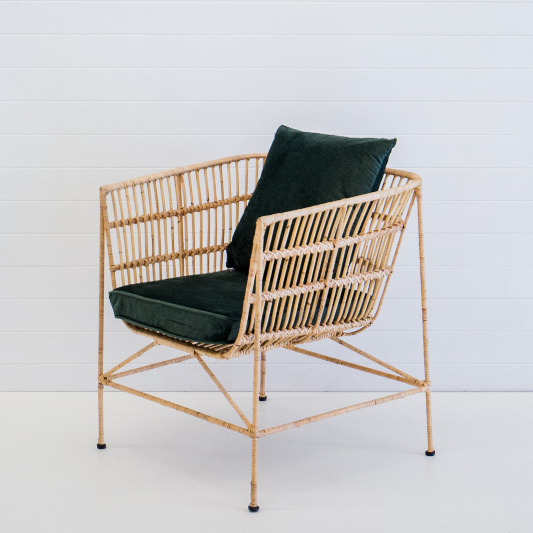 INDIE NATURAL ARMCHAIR WITH EMERALD VELVET CUSHIONS