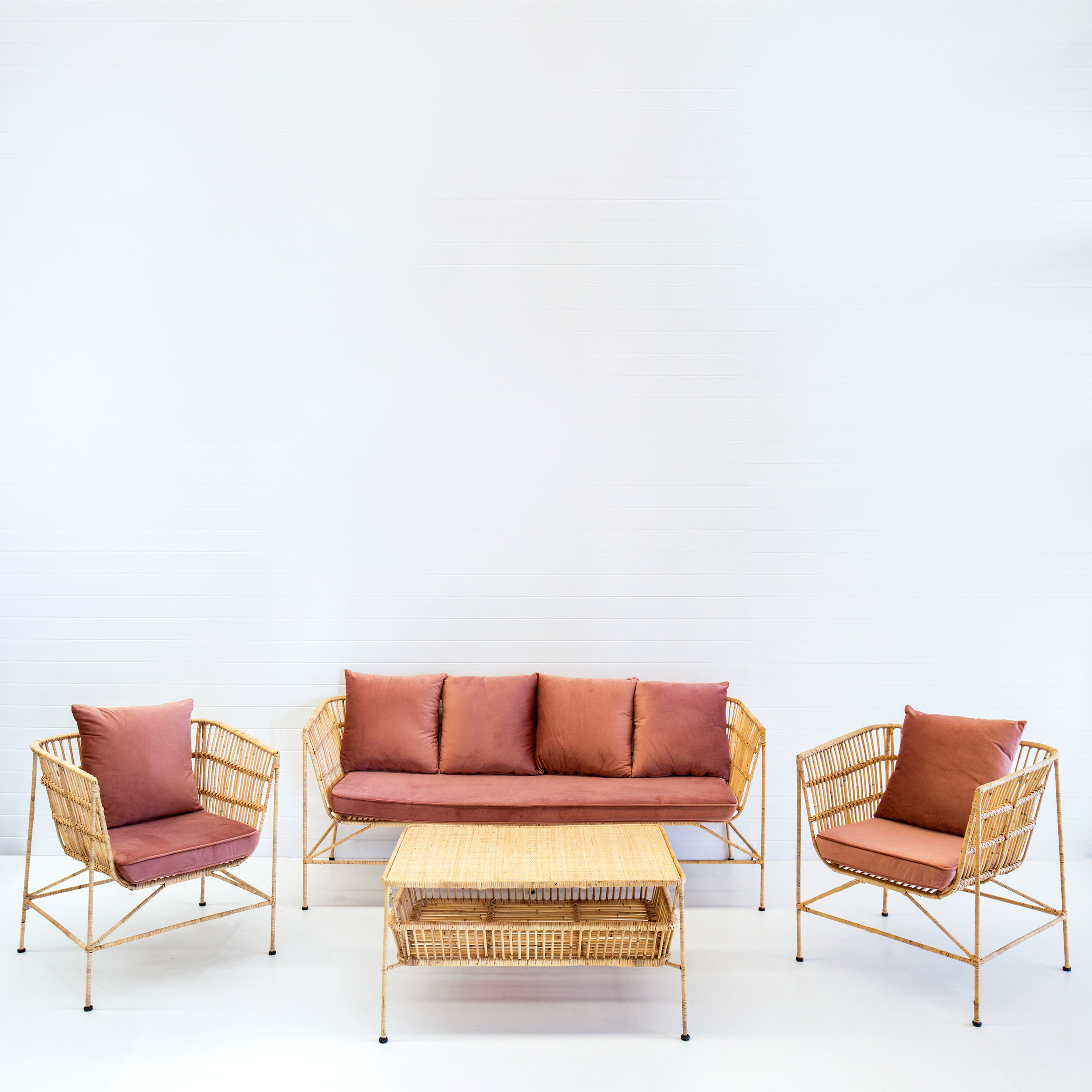 INDIE NATURAL SOFA PACKAGE (WITH DUSTY PINK VELVET CUSHIONS)