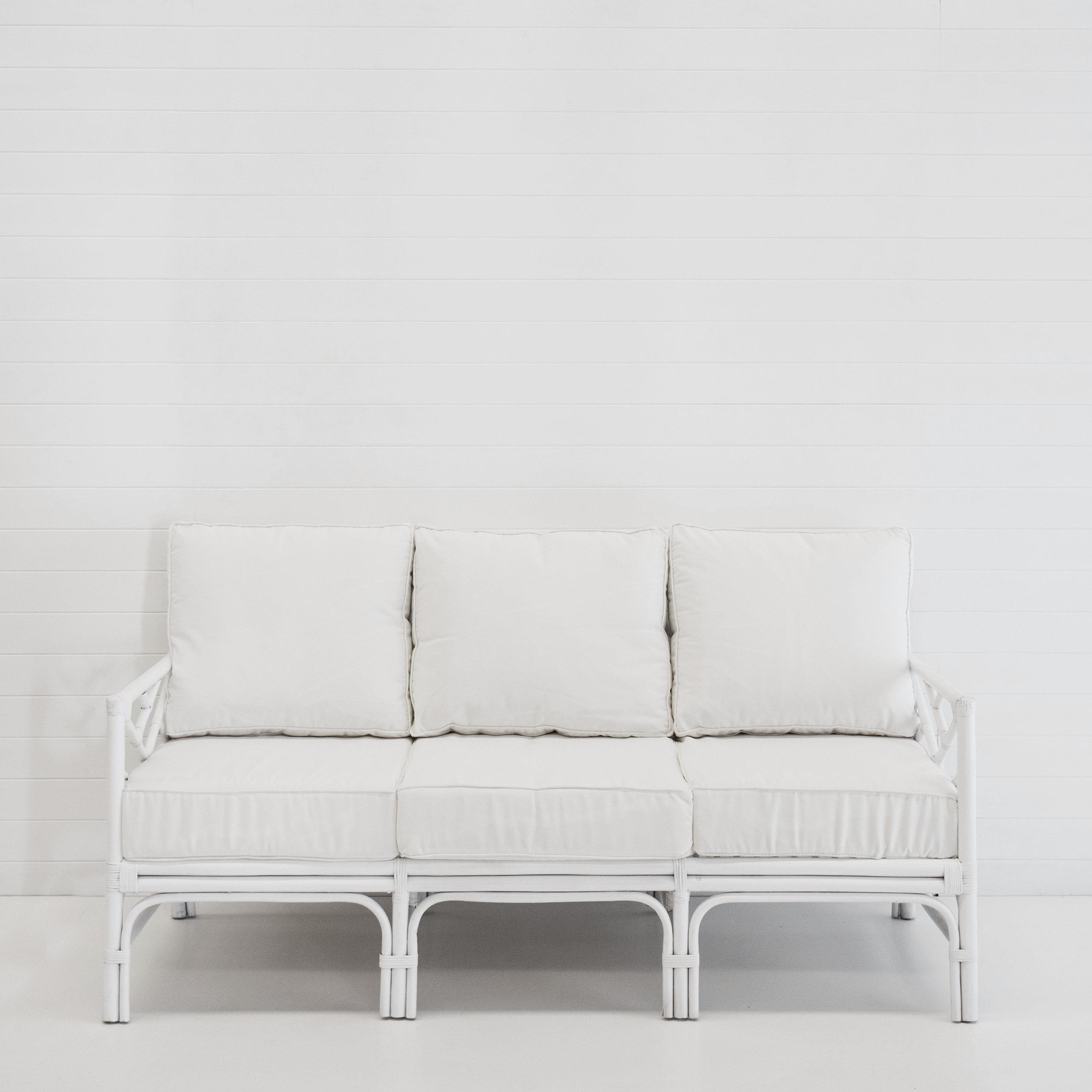 HAMPTONS WHITE 3-SEATER SOFA (WITH WHITE CUSHIONS)