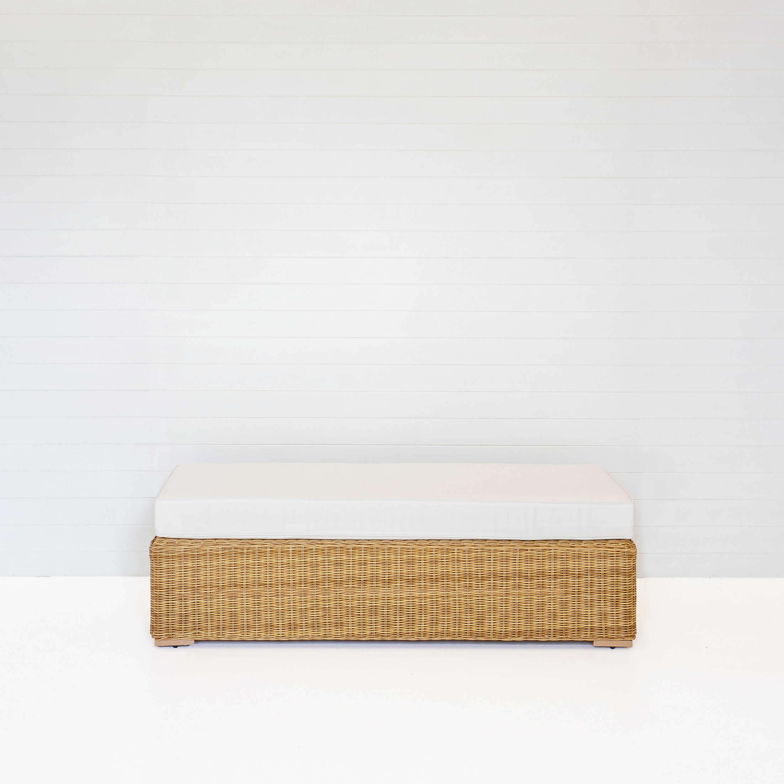 DUNE BENCH OTTOMAN WITH WHITE CUSHIONS