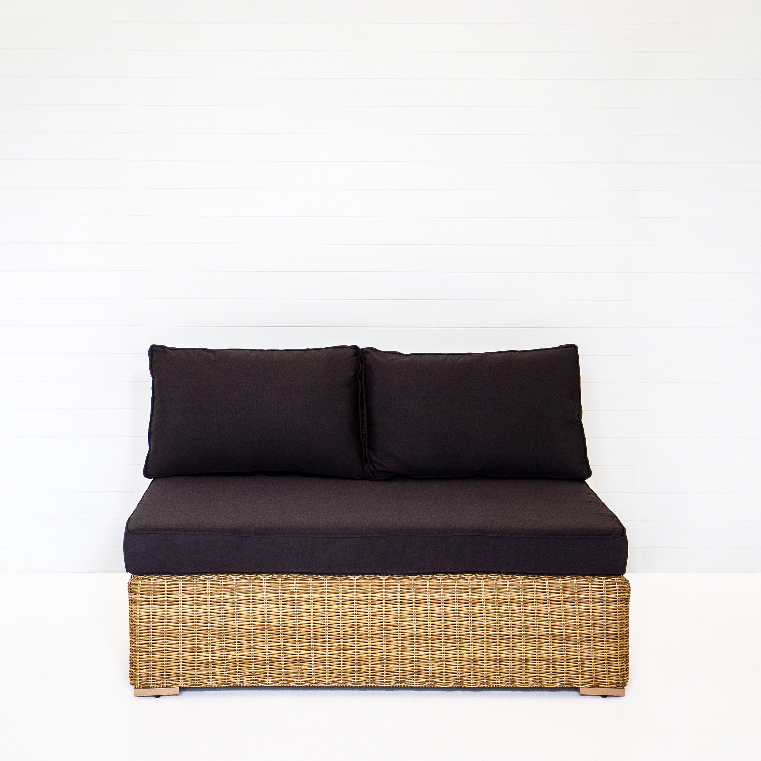 DUNE TWO SEATER MODULAR SOFA (NO ARMS) WITH BLACK CUSHIONS