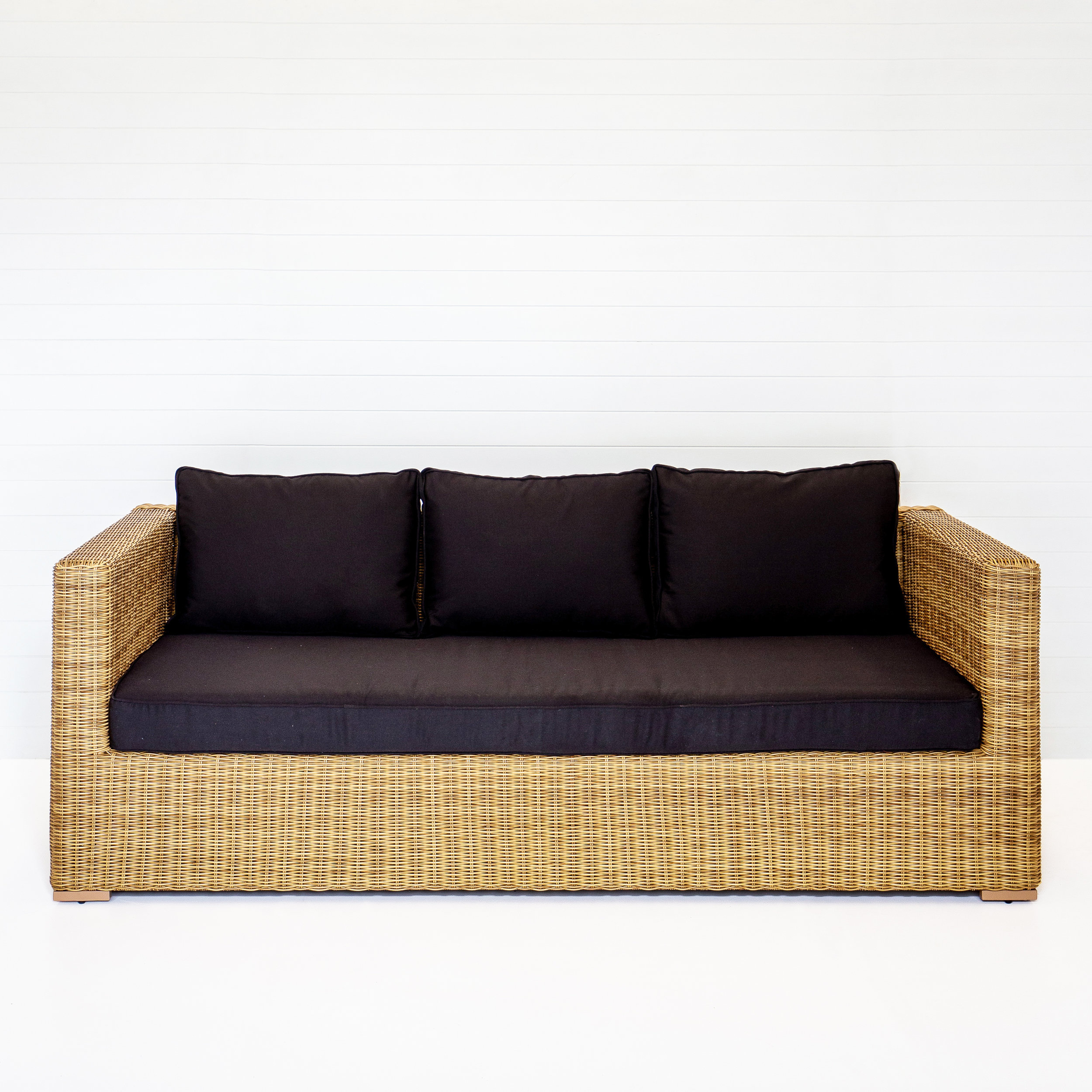 DUNE THREE SEATER SOFA (WITH ARMS) WITH BLACK CUSHIONS