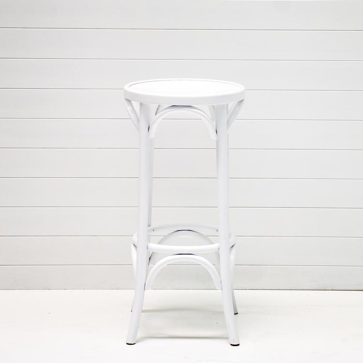 WHITE BENTWOOD STOOL