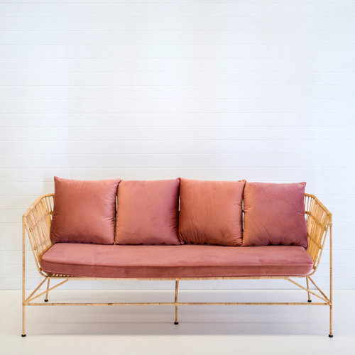 INDIE NATURAL 3-SEATER SOFA WITH DUSTY PINK VELVET CUSHIONS
