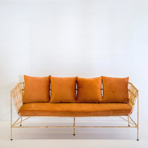 INDIE NATURAL 3-SEATER SOFA WITH RUST VELVET CUSHIONS