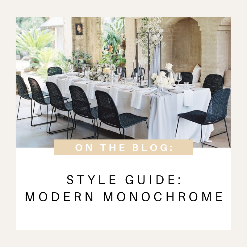 Style guide modern monochrome wedding styling inspiration