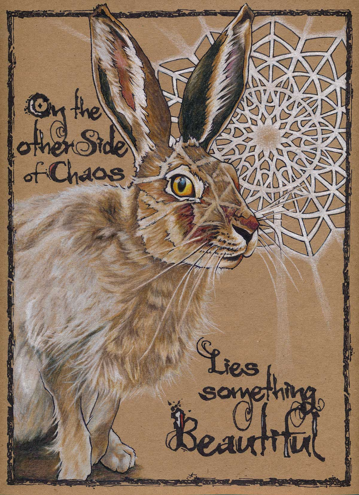 "Beauty from Chaos   8"" x 10""  Pen, colored pencil on Kraft paper"