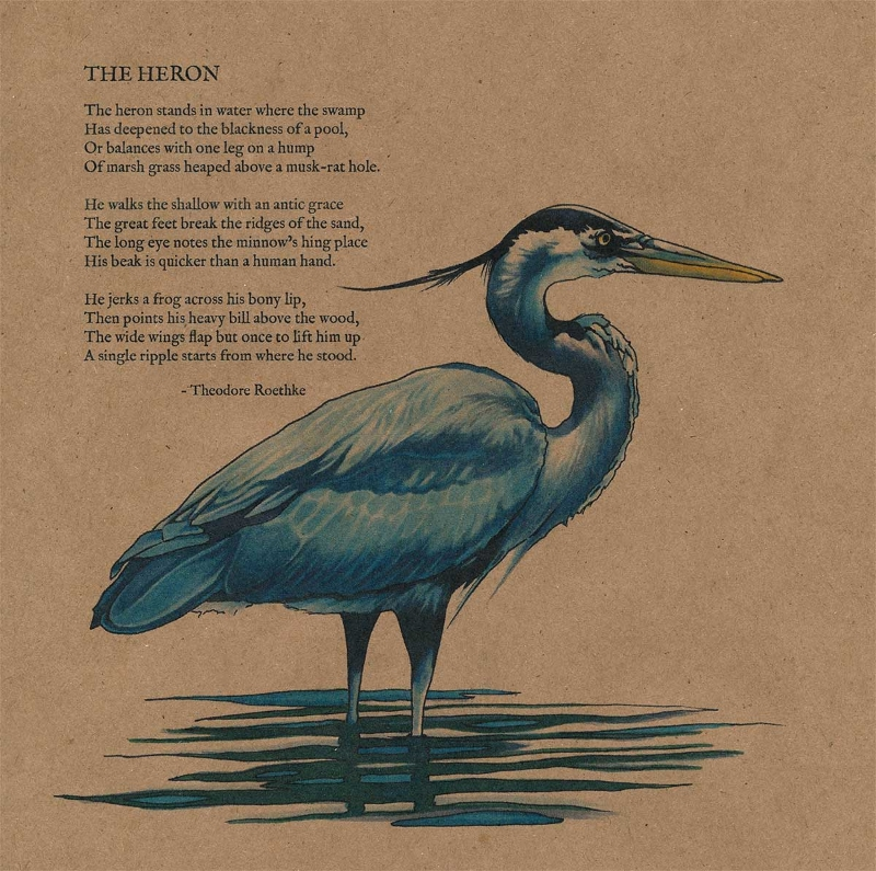 "The Heron  10""x10""  Art marker and pen on Kraft paper"