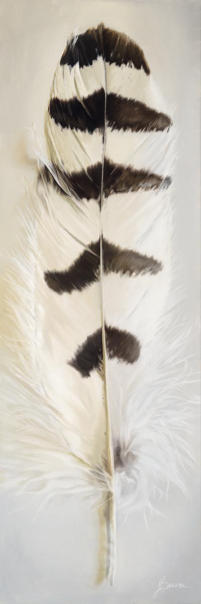 """Snowy Owl Spirit   12"""" x 36""""  Oil on canvas"""