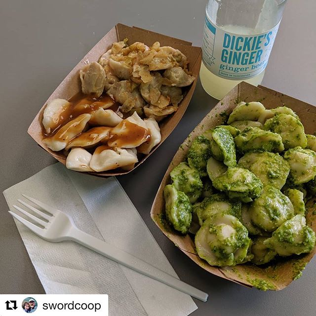 We still have over a week left for our #eatgivegrow special- Vegan Cheeseburger and fries! Try pairing it with another order of pesto and a @dickiesginger like @swordcoop ! ❤️🥟