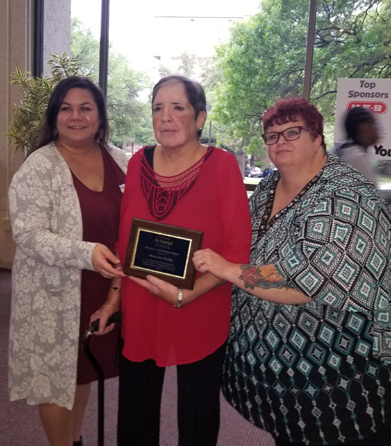 CONGRATULATIONS to Mary Ann Valdez, recipient of the 2018 Madeline Sutherland Award for outstanding service to children with special needs/disabilities and their families. - Mary Ann teaches at Open Door Central and is pictured with Central Site Director, Missy Sanchez (l) and Assistant Site Director, Dani Dieckman (r).