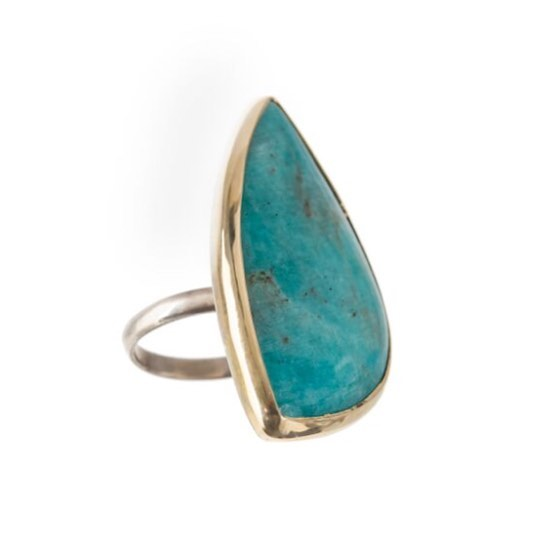 It looks like turquoise, but it's even better. Peruvian Opal with 18k gold and silver. #oceangems #brendaburdettefinejewelry @malibucolonyco in the @malibucountrymart