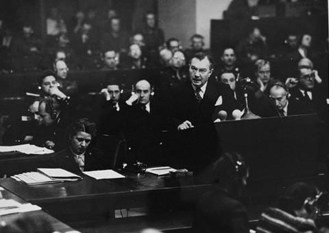 American Chief Prosecutor (and Supreme Court Justice) Robert Jackson presenting argument Nuremberg Tribunal. The Saleh v. Bush case casts grave doubts on the weight of the Nuremberg Tribunal and reawakens ghosts that the trials of the defeated Axis powers was nothing more than victor's justice.