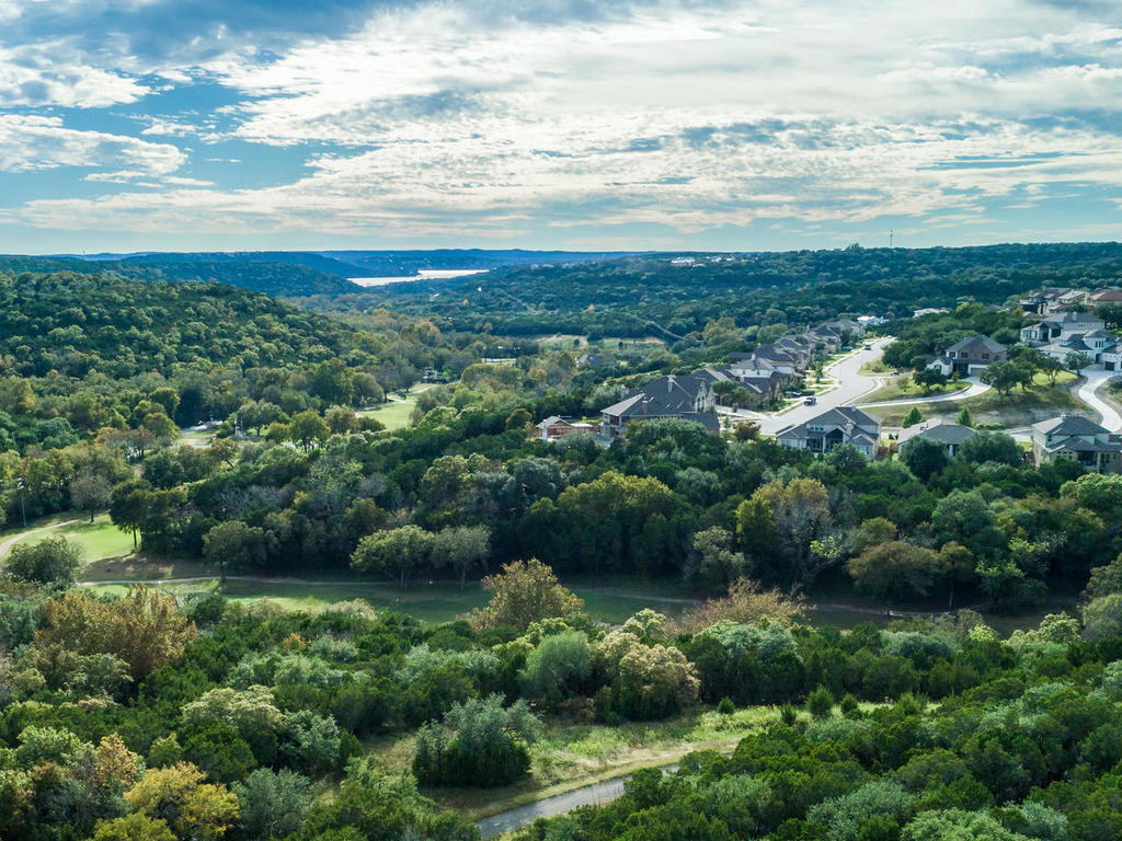 Panoramic views of the Hill Country, Twin Creeks Golf Course and Lake Travis.