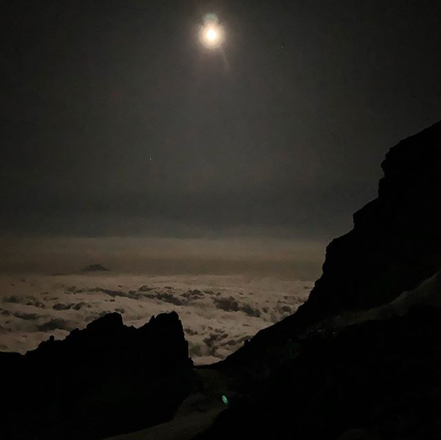 High atop Washington state at midnight in August. No matter how many times I climb this mountain, it never gets easier.
