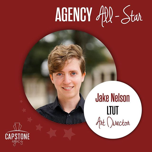 Fun, honest and determined. That's how we would describe this week's #AgencyAllStar, Jake Nelson. Jake is from Pelham, Alabama, and an amazing Art Director on the @ltuthink client team. Not only is he a part of Capstone Agency, but he is also a member of @uaminerva and @capstoneadfed. Thank you for your hard work, Jake!