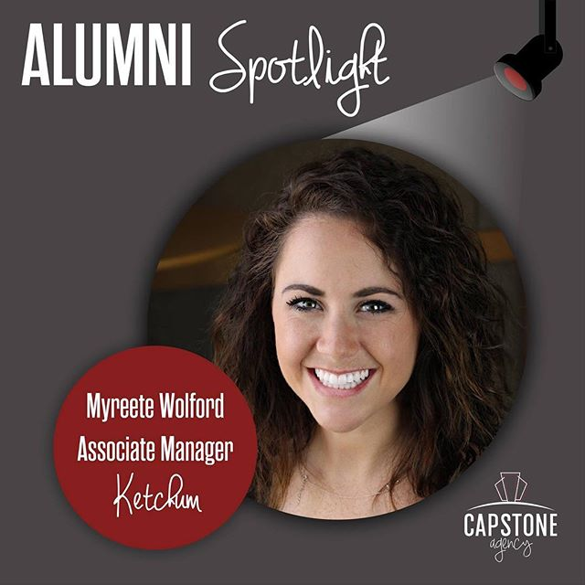 Myreete Wolford, an associate manager at @ketchumpr is our Alumni Spotlight this week! @myreete was an AE for the original @plankcenterpr team and graduated in 2015. She says Capstone Agency not only set her up for success through strong professional connections, but also gave her an inside look at the agency world.