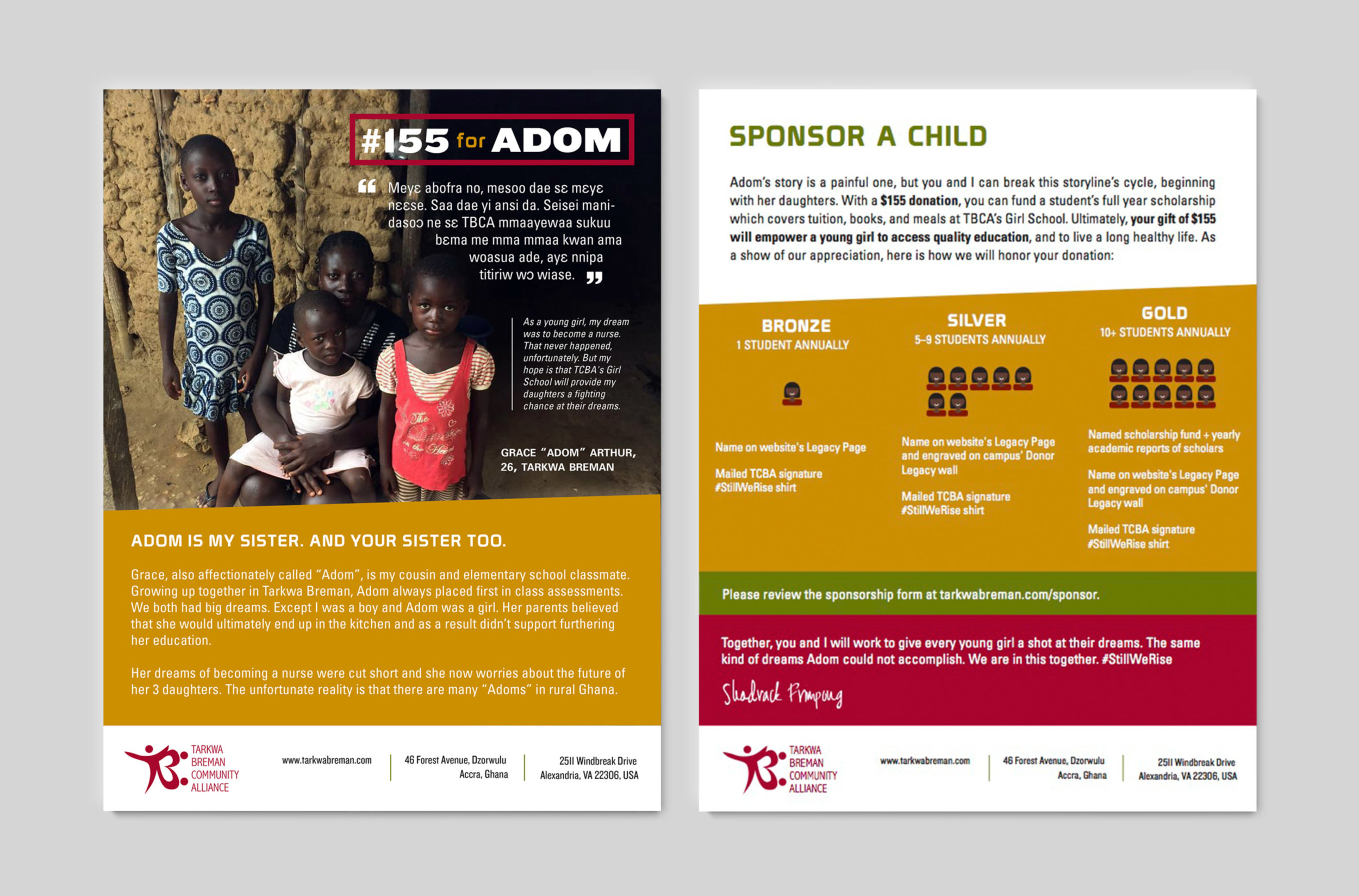 #155forAdom campaign handout, also formatted digitally for email blast