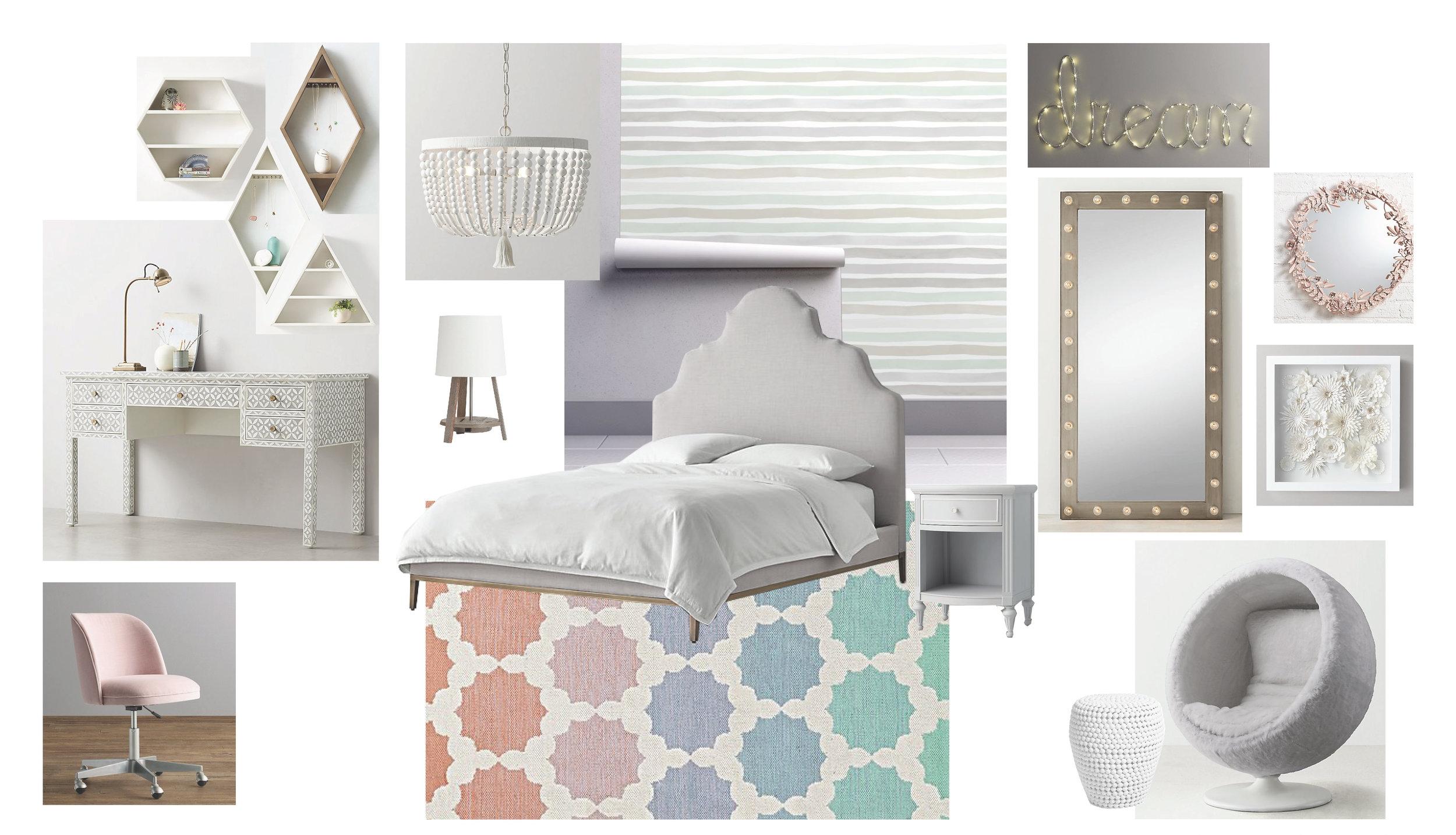 Bedroom FF&E Board 2   Queen of Pastels