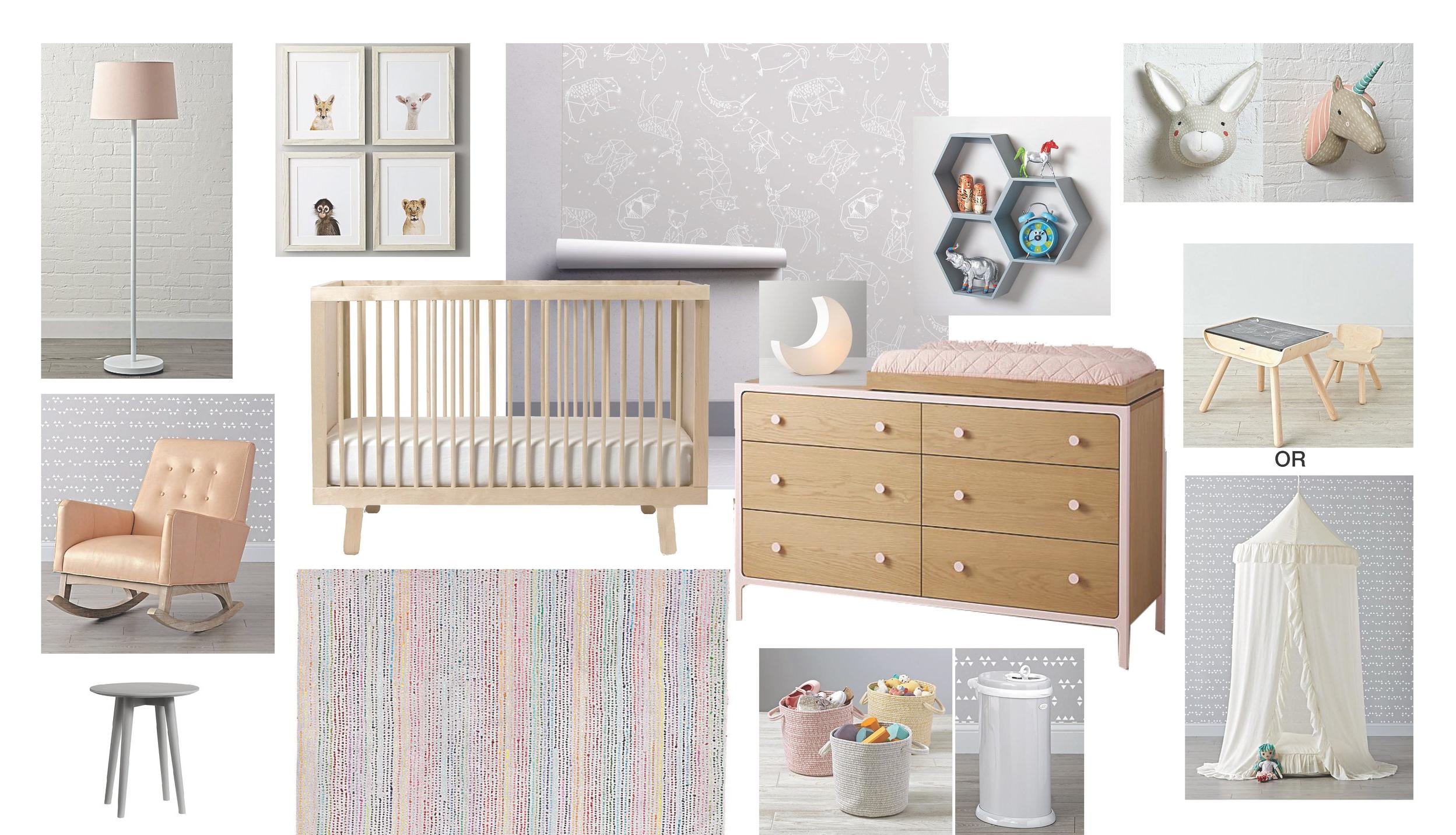 Nursery FF&E Board 1   Blush and Grey