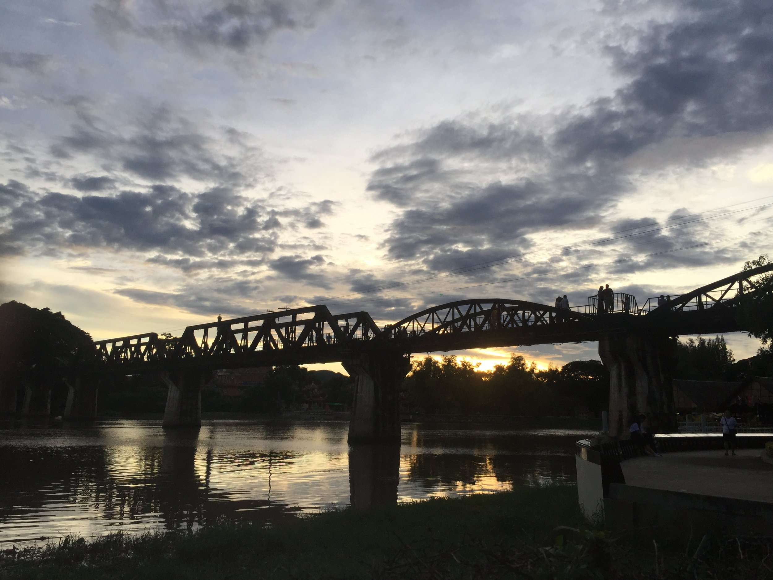 Sunset over the bridge over the River Kwai.