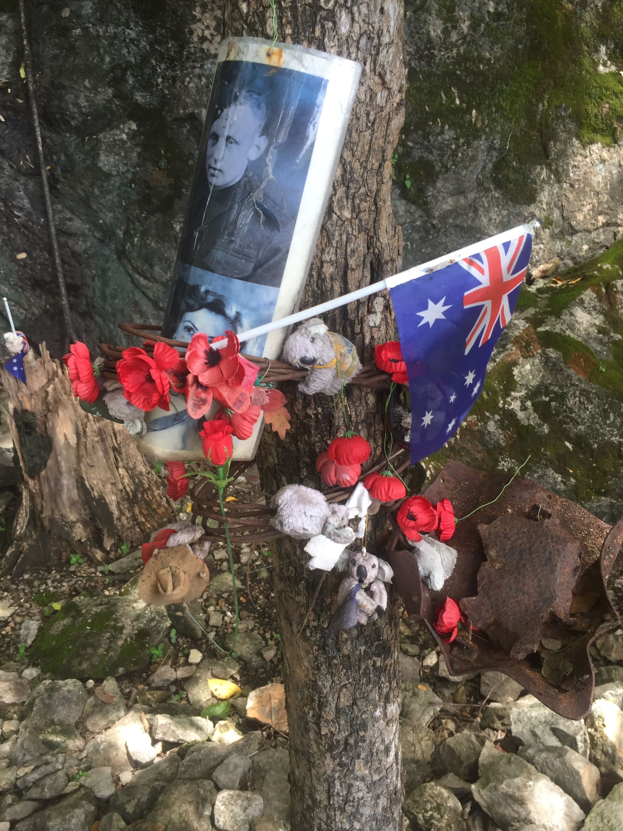 Memorials left at Hellfire Pass.