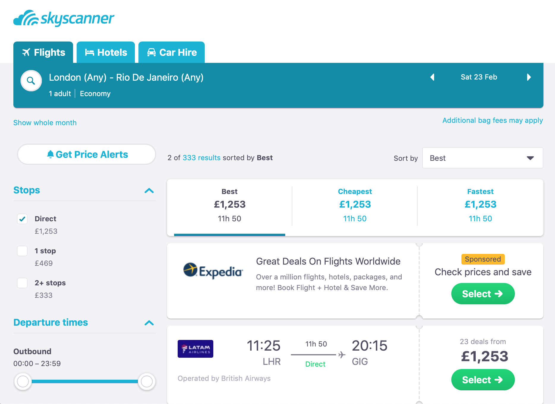 The cheapest flight on 23td February is £1253