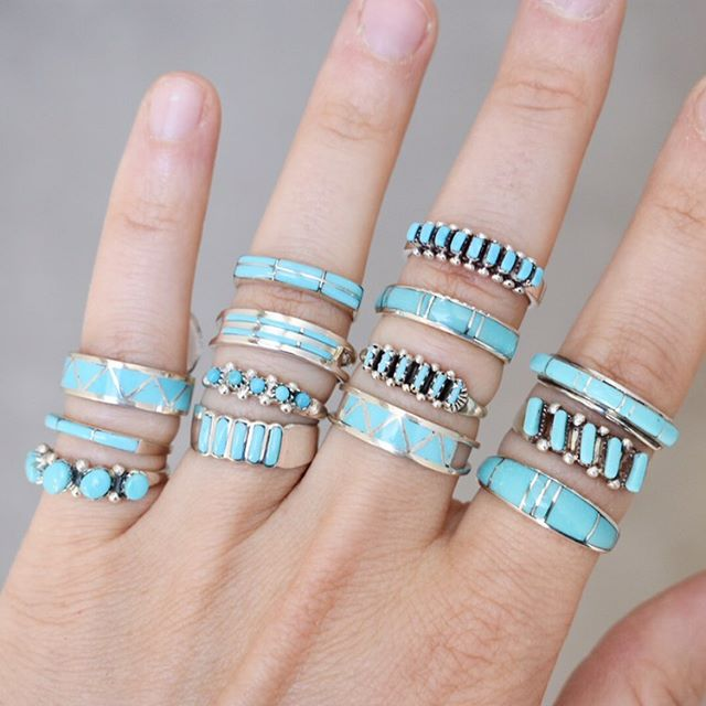 Happy #turquoisetuesday ! Turquoise bands are perfect for pairing with your wedding ring, stacking, or wearing on their own. Here a just a few of the rings we have in stock. Available sizes at the time of posting are below.  Pinky bottom: 4.75, 5.5, 5.75, 6, 7, 8 Pinky middle: 3.25, 3.75, 4, 6.5, 6.75, 8.25 Pinky top: 5.5, 6.25 Ring bottom: 6, 6.25, 6.5 Ring middle 1: 4.75, 5.75, 6.5, 6.75, 7.5, 8, 8.5, 8.75, 9.5, 11 Ring middle 2: 7, 7.5, 7.75, 8, 8.25 Ring top: 4.5, 6.25, 6.5, 7, 7.25, 7.5 Middle bottom: 5.5, 9.5, 10.5 Middle middle 1: 5.75, 7, 7.5 Middle middle 2: 6, 6.5, 7, 7.25, 7.5, 7.75, 8.5, 8.75 Middle top: 6, 6.25, 6.5, 6.75, 7, 7.5 Pointer bottom: 7, 7.5, 7.75, 8, 8.25, 8.5, 9, 9.25 Pointer middle: 5.5, 5.75, 6, 6.25, 7, 7.5, 8 Pointer top: 7.5, 8.25, 8.5, 9