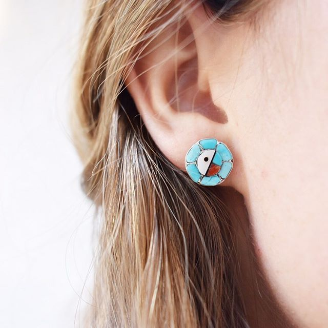 The Zuni Sunface Turquoise Earrings. ✨ Shop at rusturquoise.com or tap the photo above for the tag. ✨