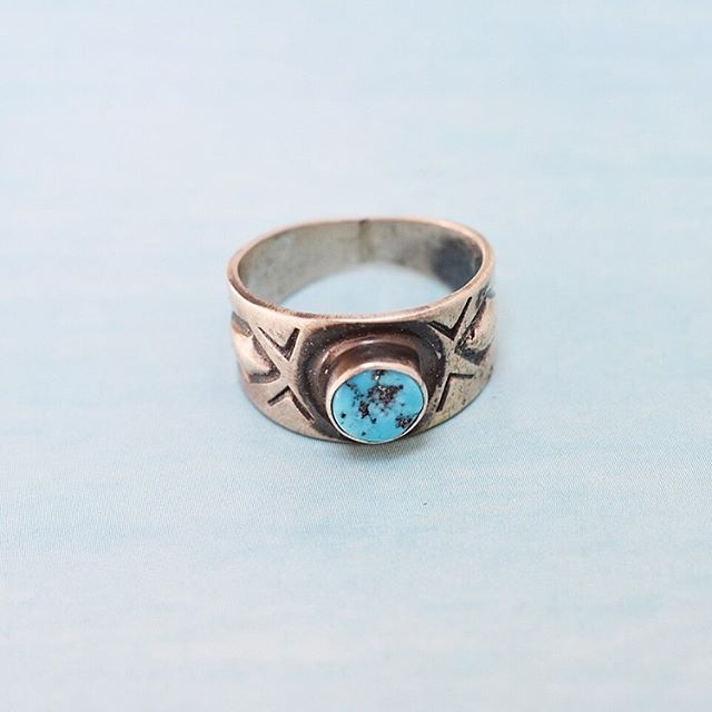The Satin Kingman Turquoise Ring. Handmade by Navajo artist Jan Mariano. Available in sizes 5.5 & 6.