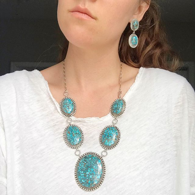 We just added this bronze-fused Kingman turquoise set to the site. We love this set because you get the look of huge turquoise stones without the huge price tag.