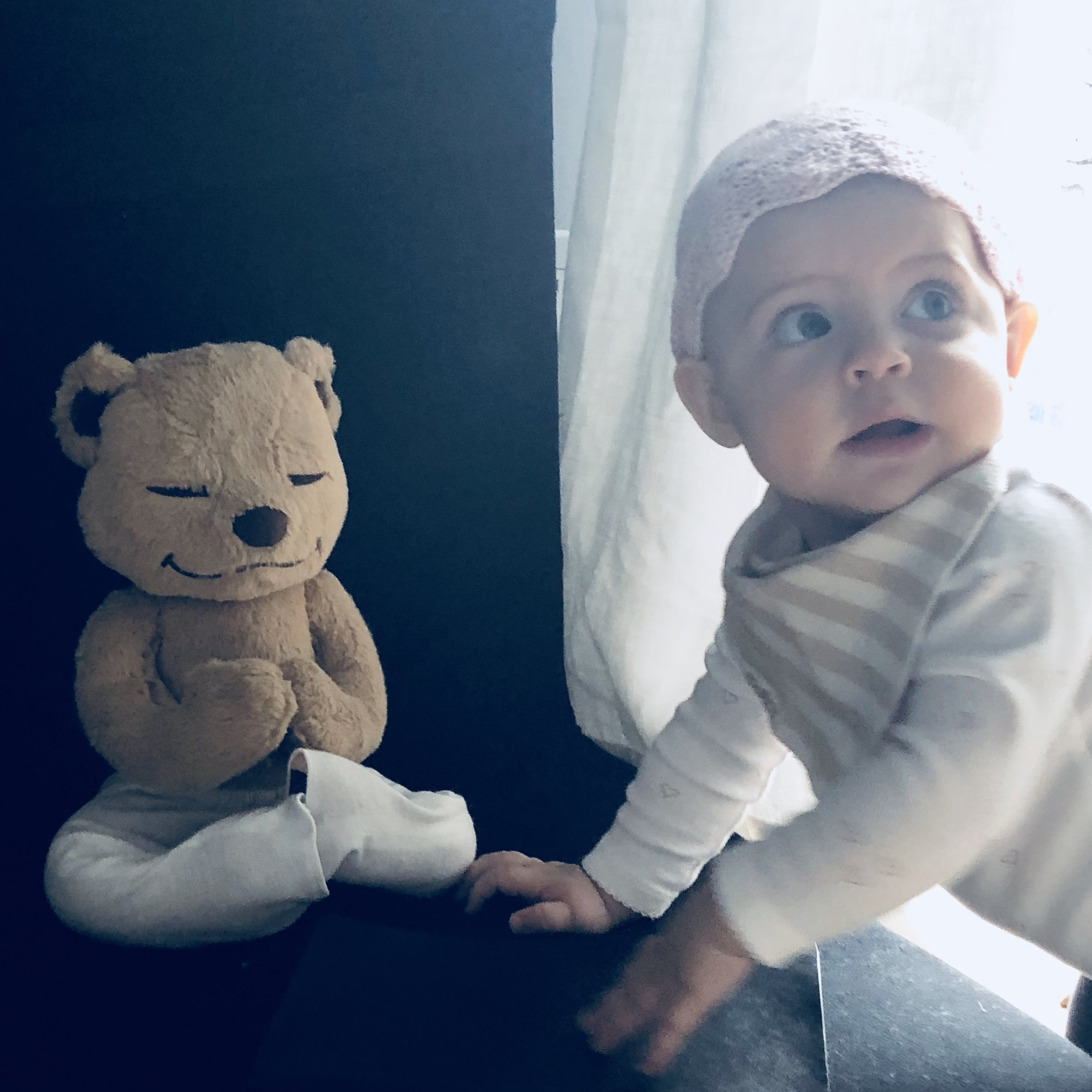 Inspirational Addict Writer Andrea Bogart Sonoma Mama Actress Health and Wellness Yoga Instructor Baby Girl with Meddy Teddy Meditation Yoga Bear