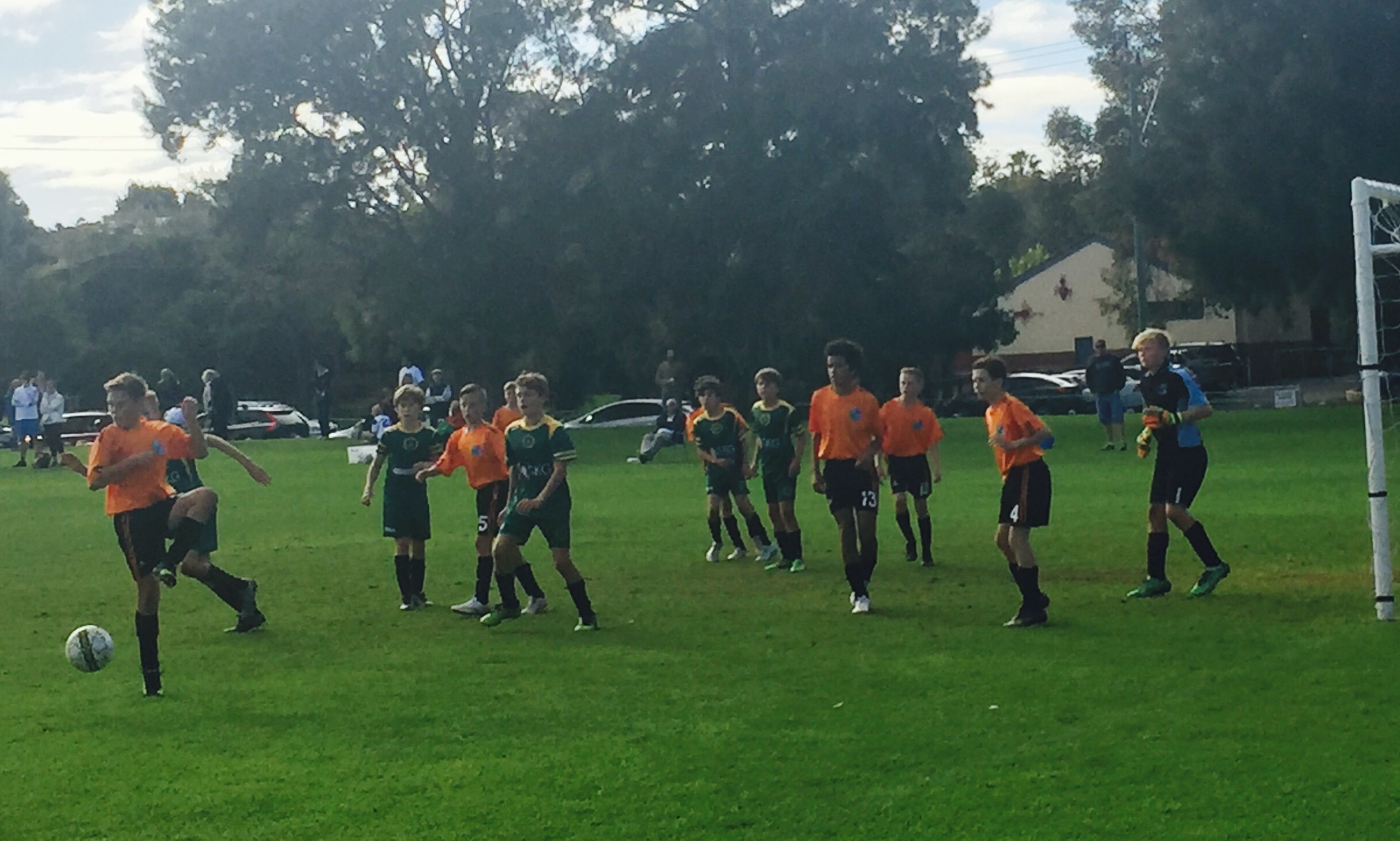 The 13s Boys Division 1 side in action against Warnbro Strikers SC