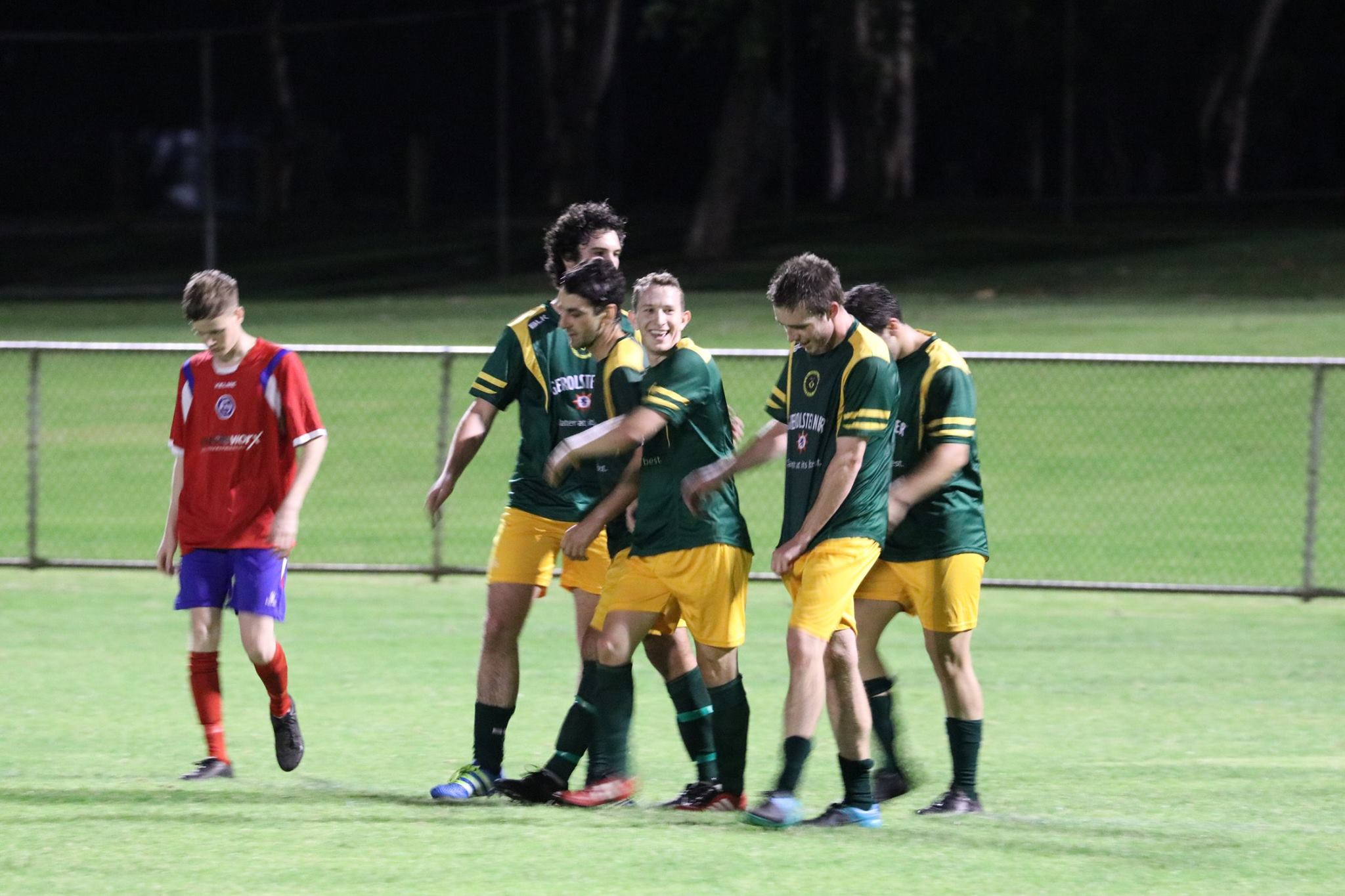 LLOYD PROUT CELEBRATES ONE OF HIS THREE GOALS AGAINST QUINNS IN THE NIGHT SERIES