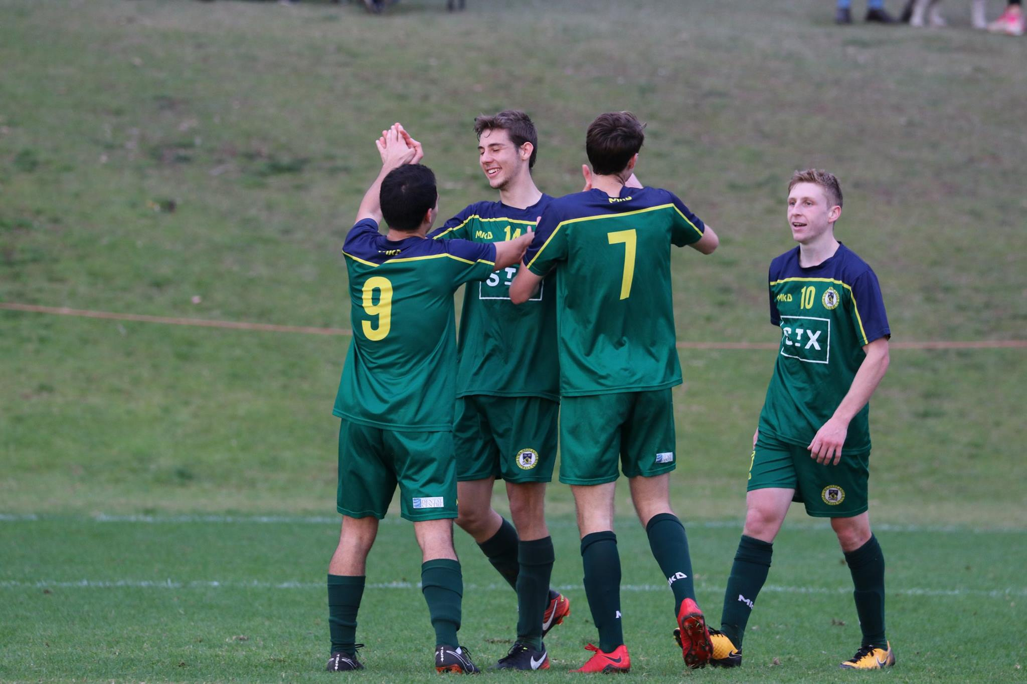 THE BOYS CELEBRATE THEIR SECOND OF THE DAY - CREDIT: GABRIELE MALUGA