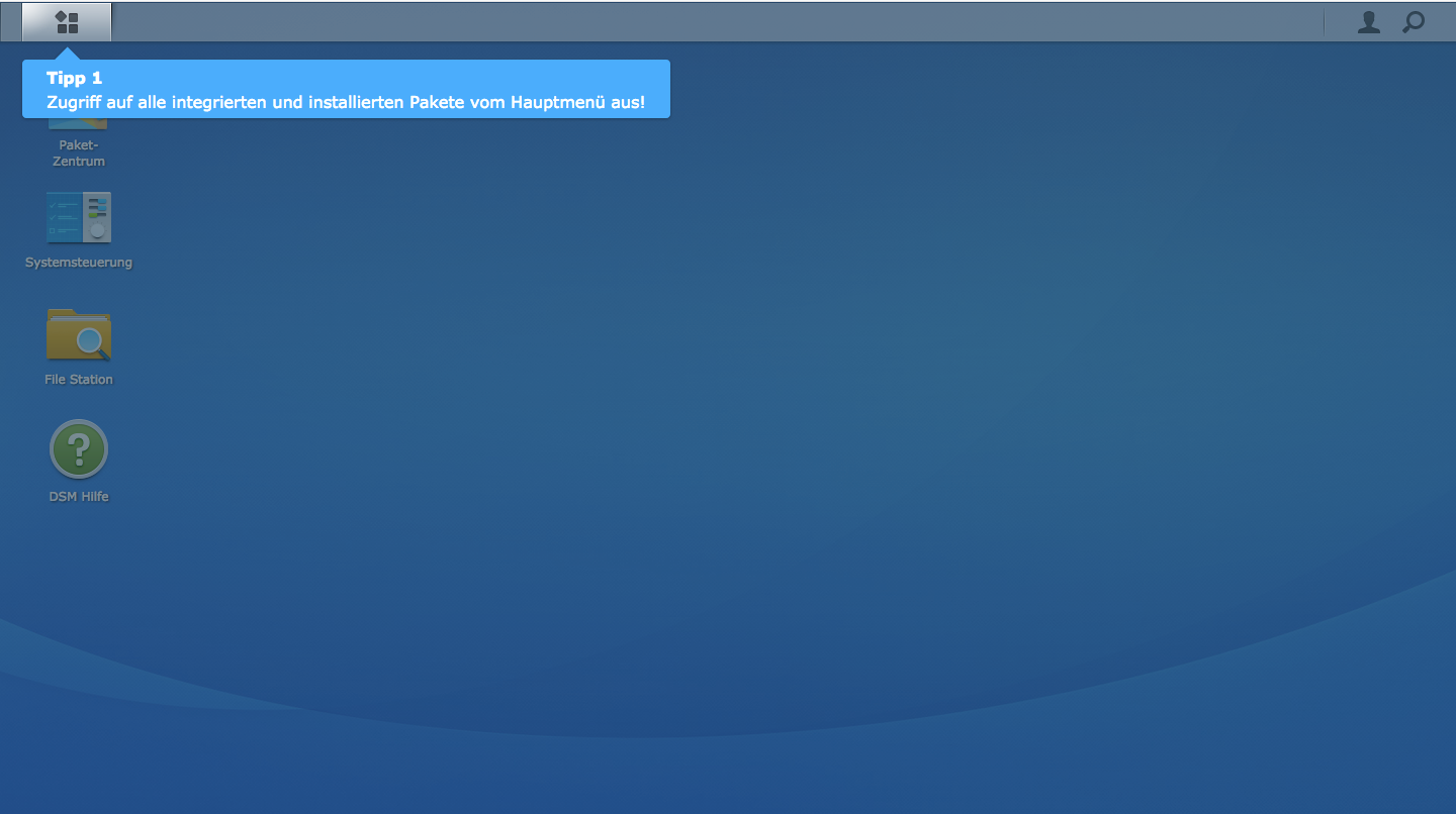 The Synology is now installed and ready to go. You are now logged in as administrator.