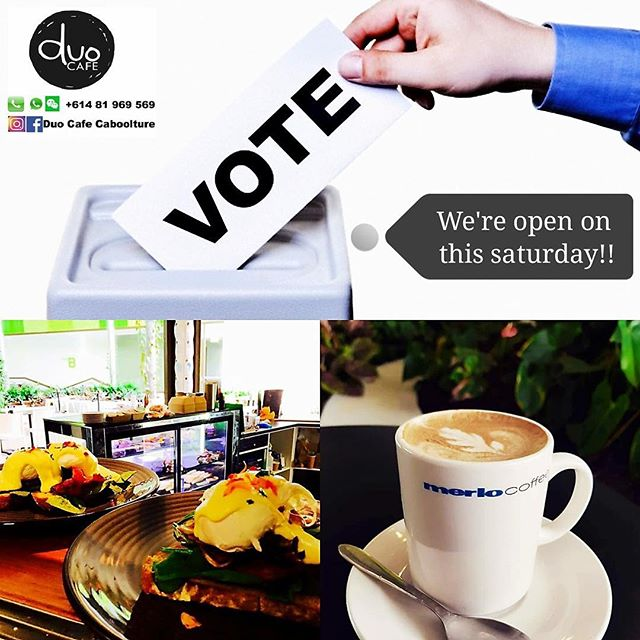 The polling day is almost there!!☑☑ Just a reminder that we will be opening this coming Saturday 28/7 9am-1pm📣📣 Please feel free to come over to enjoy our freshly tasty meal and signature coffee.  For any inquiry, please contact us 0481 969 569