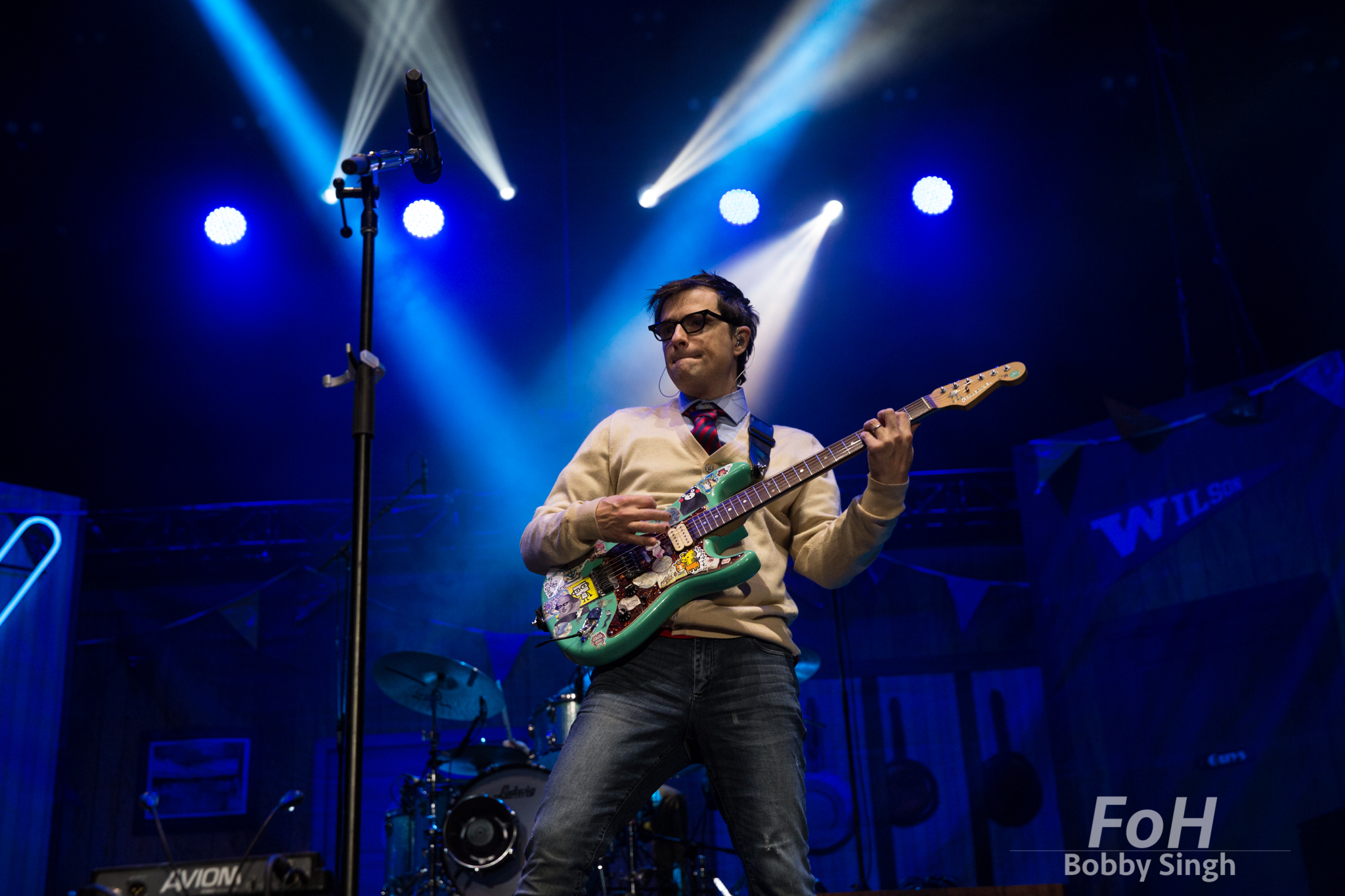 Toronto, CANADA. 14th July, 2018.Rivers Cuomo of Weezer performs at Budweiser Stage in Toronto.