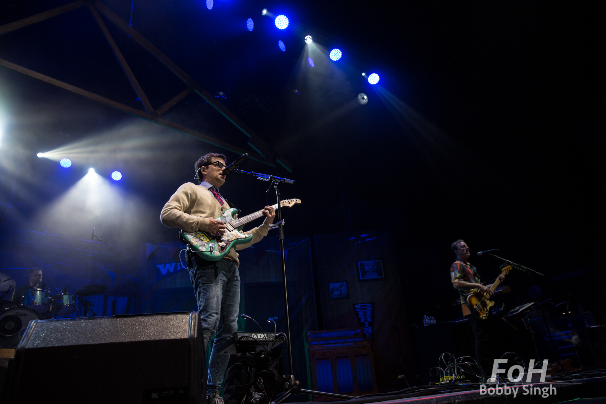 Toronto, CANADA. 14th July, 2018. Drummer Patrick Wilson, singer Rivers Cuomo and bassist Scott Shiner of Weezer