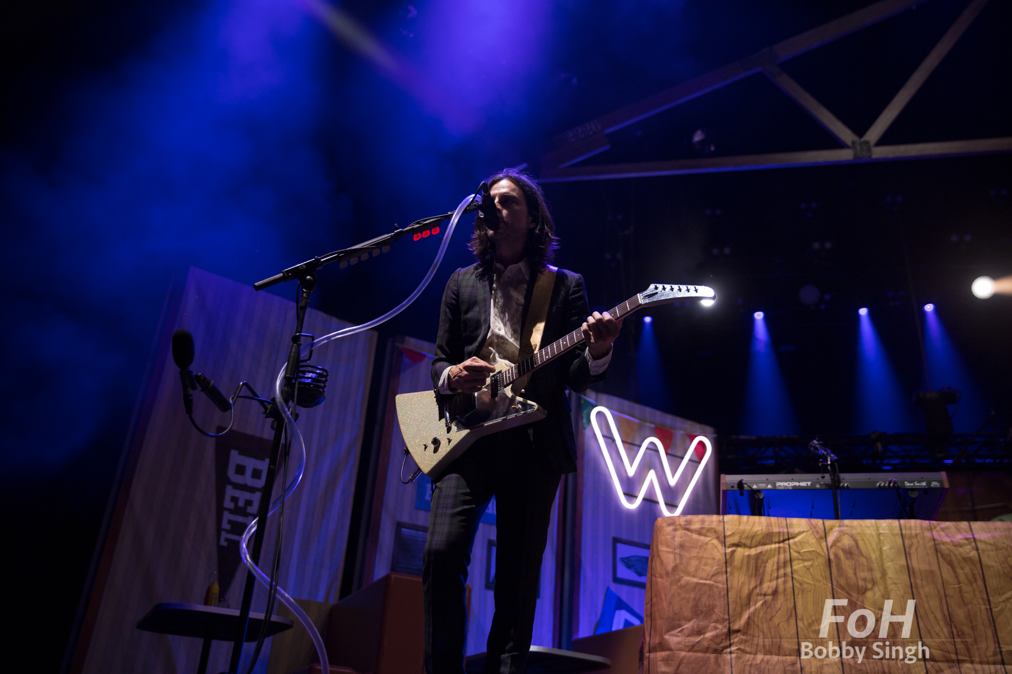 Toronto, CANADA. 14th July, 2018. Guitarist Brian Bell of Weezer in Toronto.